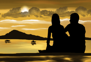 two lovers sitting on a beach